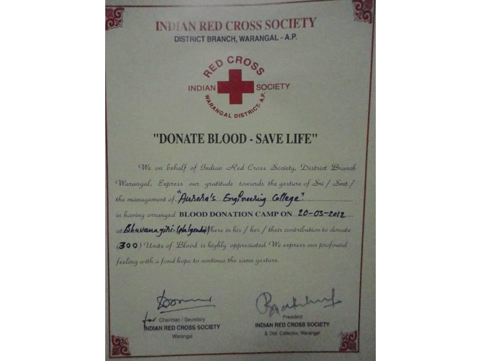 AURORA\'S Engineering College -Bhongir: 120320 - NSS - Blood Camp ...