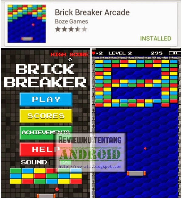Ikon dan tampilan game jadul di android Brick breaker arcade (rev-all.blogspot.com)