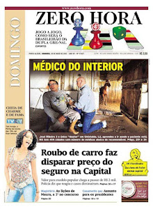 O prefeito e médico RIBEIRO, de Unistalda-RS, na capa do jornal Zero Hora em 20 de maio de 2012