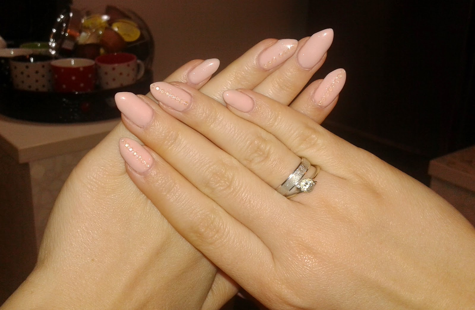beauty, nails, stiletto nails, nude stiletto nails with rhinestones, nail art, nail design, diy nails, gel nails