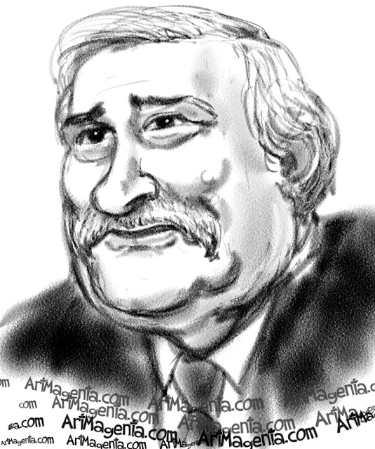 Lech Walesa caricature cartoon. Portrait drawing by caricaturist Artmagenta.