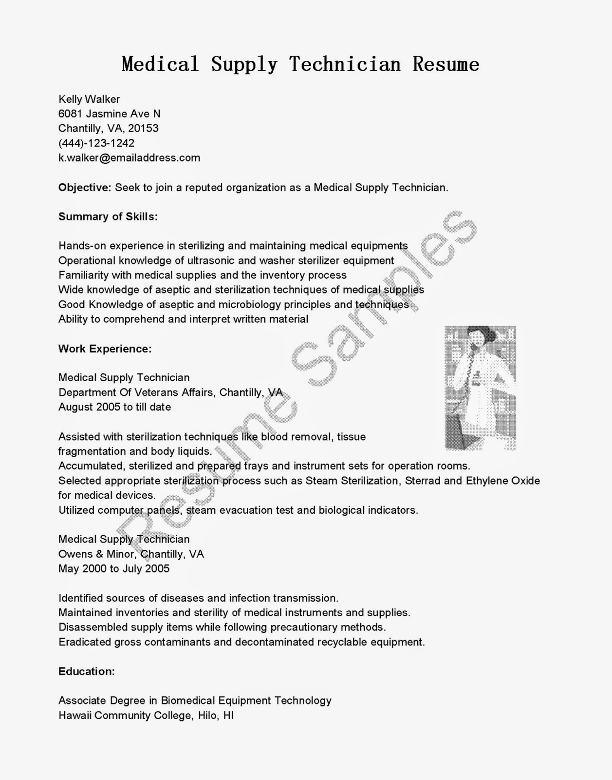 resume samples  medical supply technician resume sample