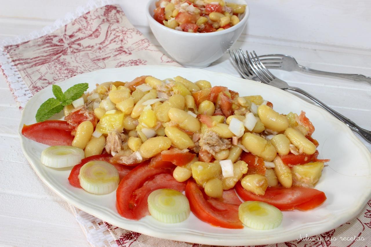 Julia y sus recetas jud as blancas en ensalada for Cocinar judias blancas