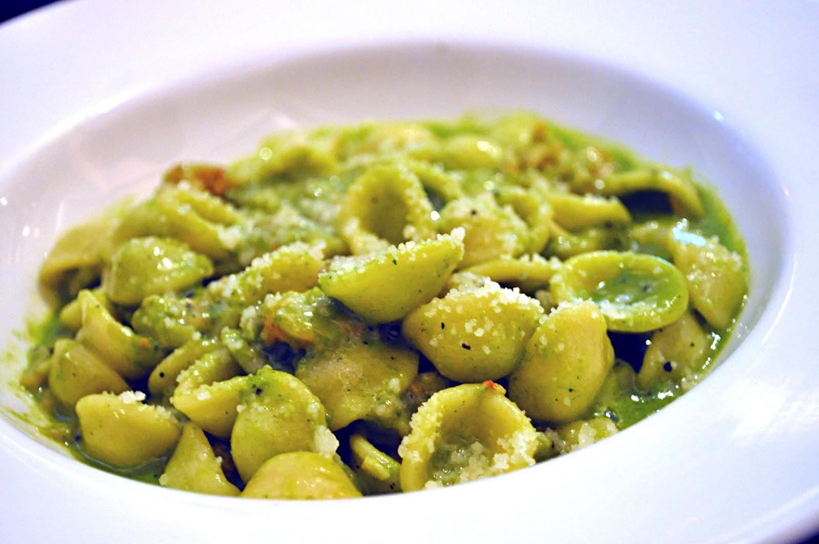 Orecchiette served with Chopped Sea Prawn in Zucchini and Garlic Cream