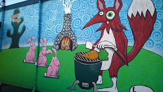 Barbequing Fox, Bunnies Wait for Carrot at at Sutter Home and Hearth and Fastenal.