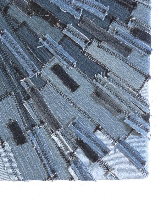 Recycled Denim Sunburst Textile Art