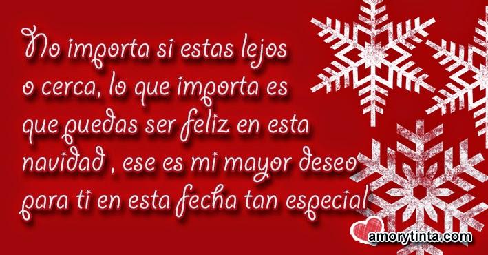 tarjeta roja con frase en blanco y adornos navideños