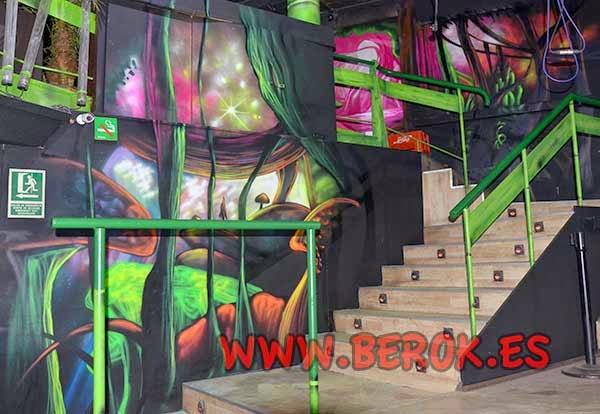 Decoración mural discoteca Bora Bora