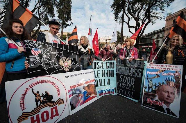 Manifestação pró-Putin em Roma. O novo Komintern apela ao velho anti-americanismo