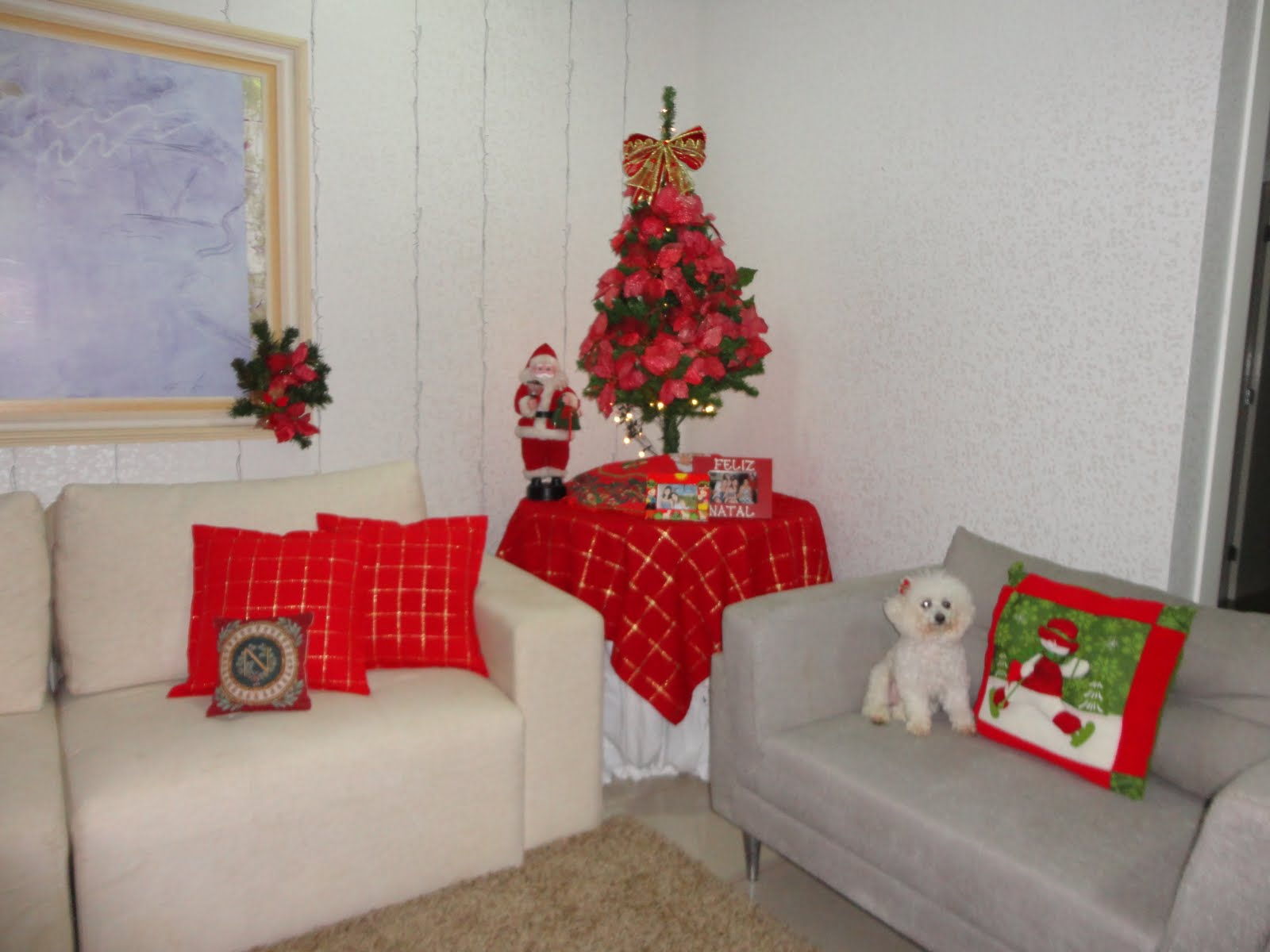 #BB1018 quem não gosta de ter seu cantinho arrumado para o natal? 1600x1200 píxeis em Decoração Para Sala Pequena Simples E Barata