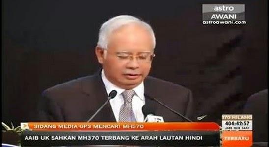 PESAWAT MH370 DISAHKAN TERHEMPAS DIKAWASAN SELATAN LAUTAN HINDI