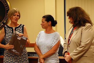 School Committee Chair Paula Mullen, Maureen Barker, School Superintendent Maureen Sabolinski