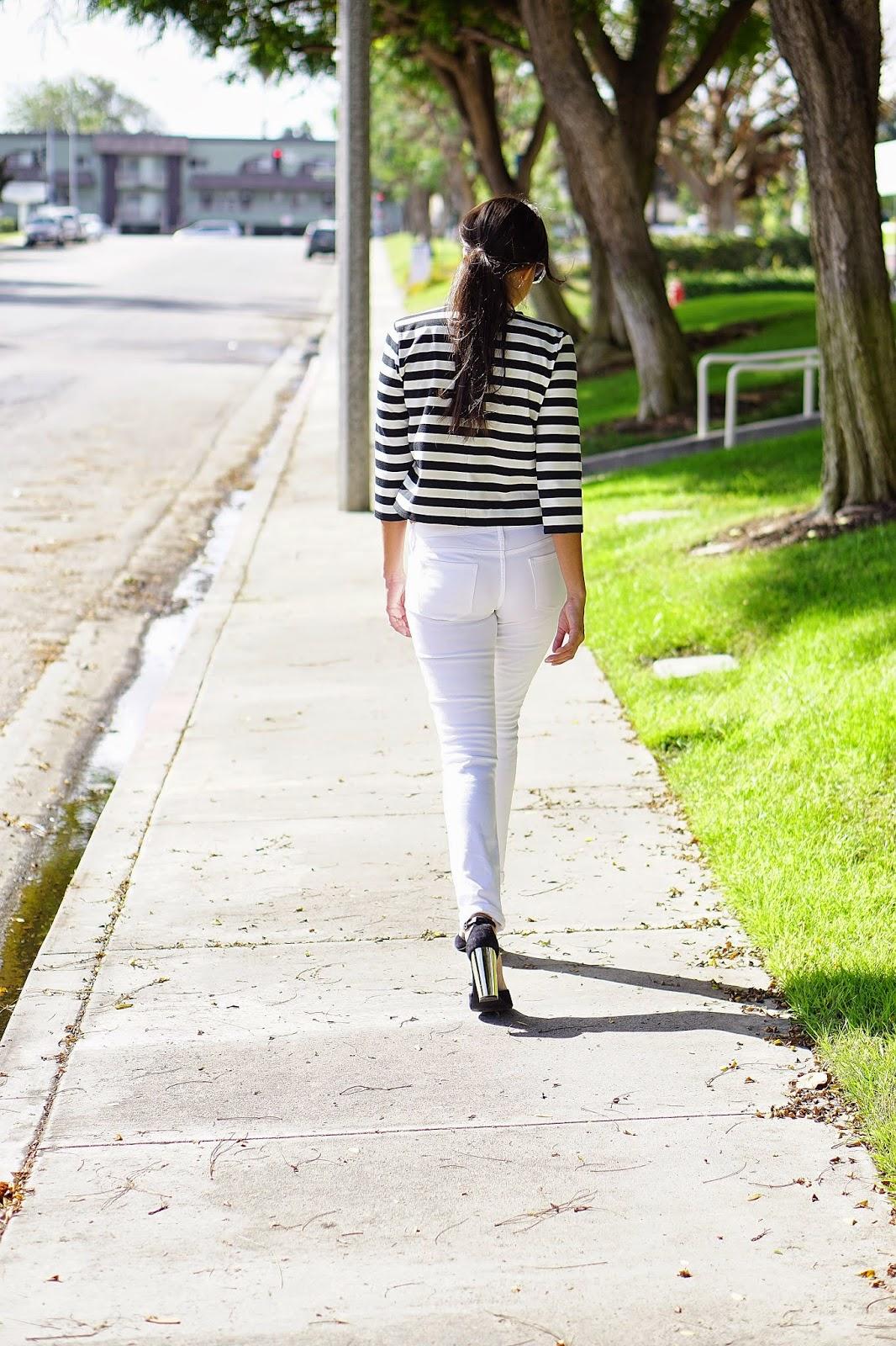 JCPenney, MNG by Mango Striped Crop Top, White Jeans, Arizona Skinny Jeans, Shoemint Penny Heels, Shoemint Heels, Chilli Beans Sunglasses, Altuzarra for Target Black Blazer, Black Blazer, Target,