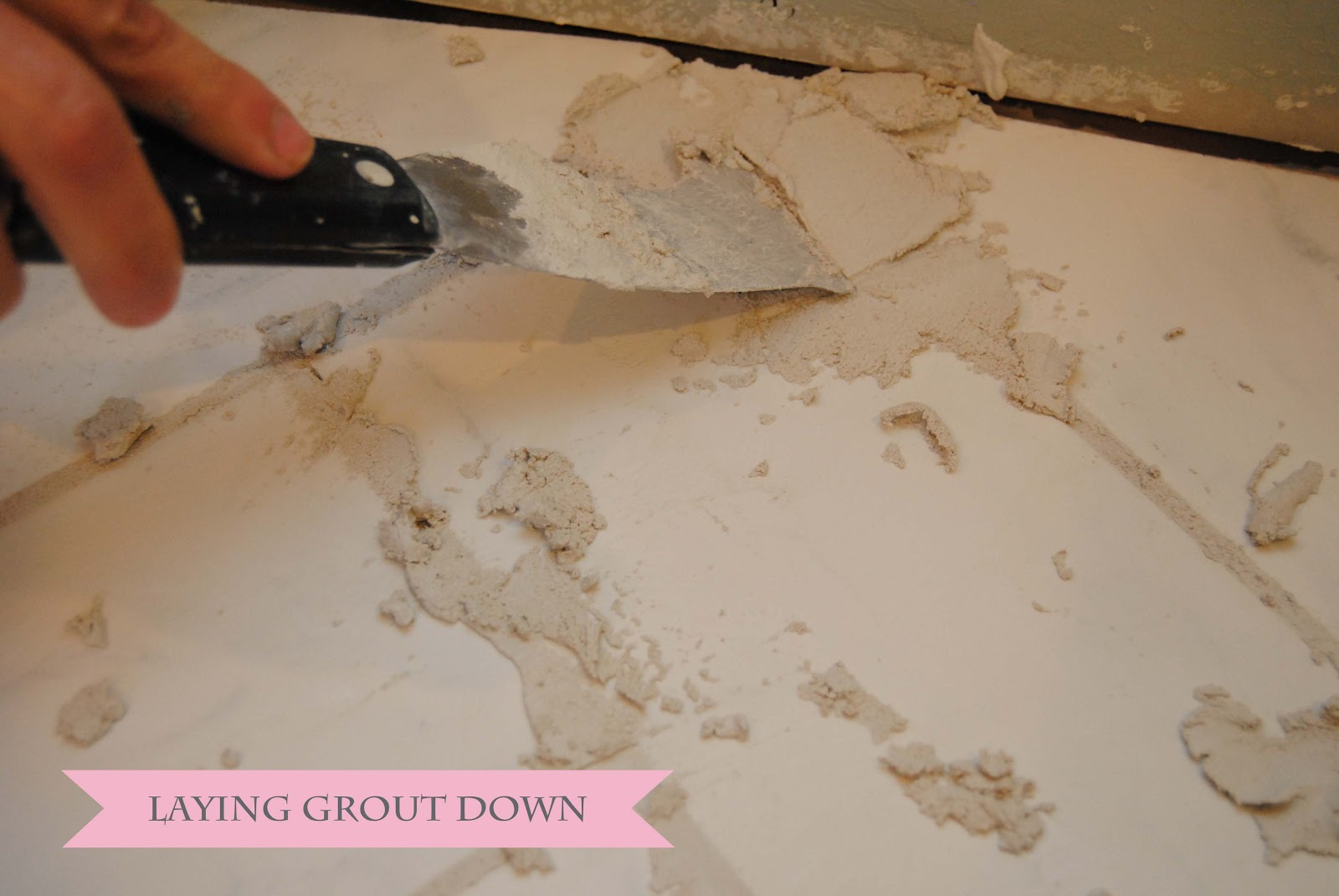 Visual eye candy how to tile a herringbone floor part i - Next Take Your Rubber Float And Press The Grout Down Firmly If You Have Any Spots That Aren T All The Way Filled Just Add A Little More Grout And Go Over
