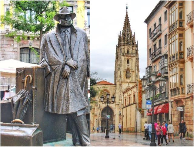 Escultura El regreso de Williams B Arrensberg o El viajero de Eduardo Urculo en la Plaza de Porlier de Oviedo – Catedral de Oviedo