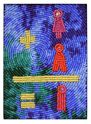 bead embroidery by Robin Atkins, world population, January 2014