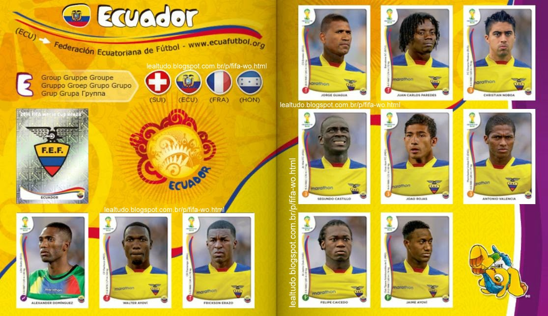 Album ECUADOR - EQUADOR Fifa World Cup BRAZIL 2014 LIVE COPA DO MUNDO Sticker Figurinha Download Lealtudo