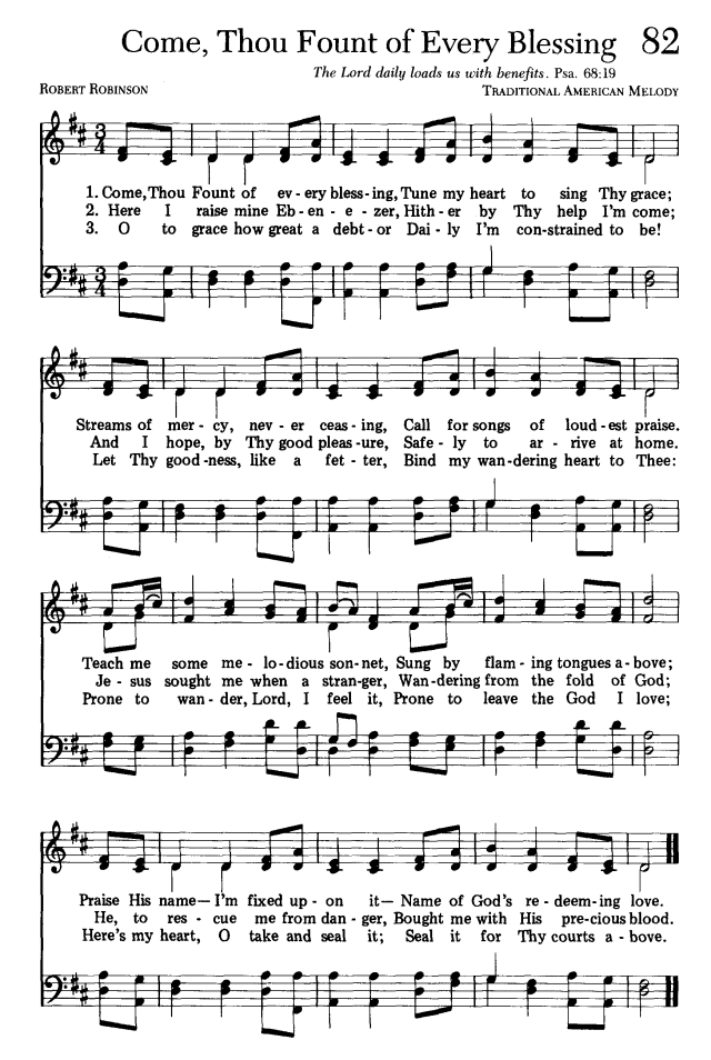 triple the scraps hscrc13 hymn 6 come thou fount of