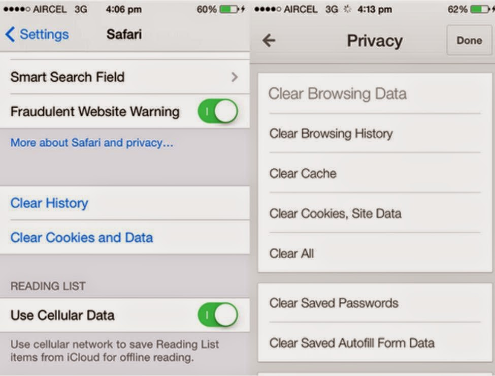 Erase iphone data how to delete app cache cookies and temp files for example most web browsers for ios have the option to clear cache and cookies ccuart Choice Image