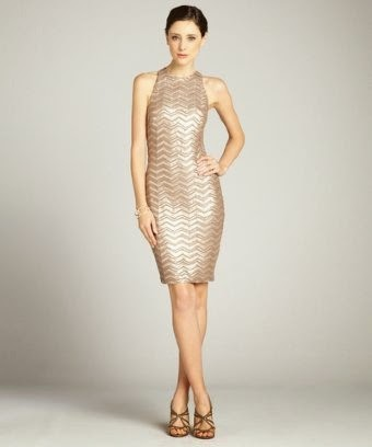 Bronze Copper Cut Out Sleeves Sequin Cocktail Dress