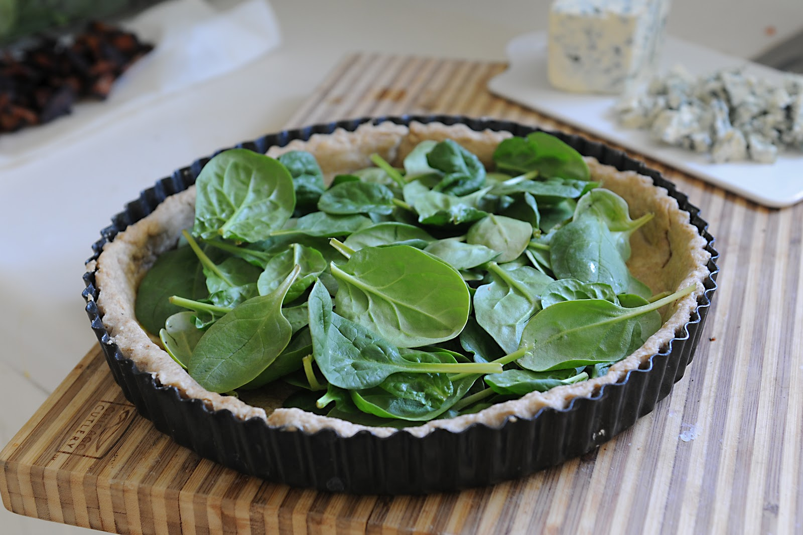 134. Spinach, Blue Cheese and Bacon Quiche with a Spelt Crust