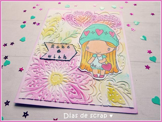 """scrap Postal para el reto FFF de TGF """"Embossing"""" con la muñeca """"Amor Anya"""""""
