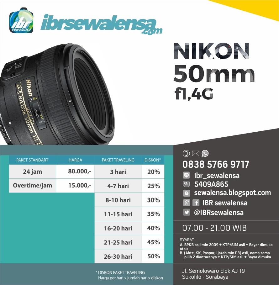 Nikon AFS 50mm f1.4 G Harga Sewa Rental Lensa Kamera