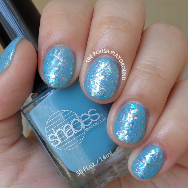 Blue and Silver Collage Floral Stamping Nail Art