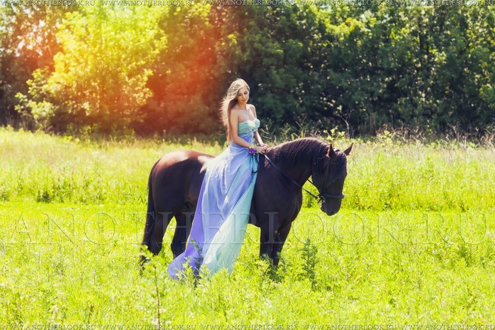 фотосессия в поле на лошади
