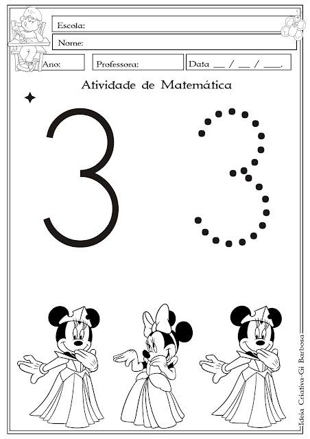 Atividade Numeral 3 Minnie