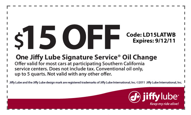 Jiffy lube coupon code