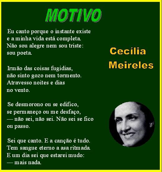 Resultado de imagem para Interpretação do poema Motivo de Cecília Meireles