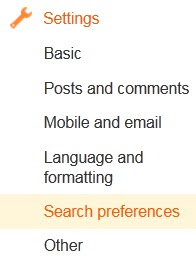 Bloggers interface Setting - Search preferences