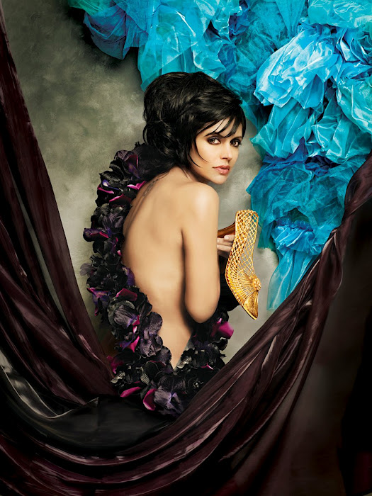 Mandira looks amazing draped in brown silk exposing her bare back. Oh, and we love that golden shoe. - Mandira Bedi Gaja Jewellery photshoot HOT PICS