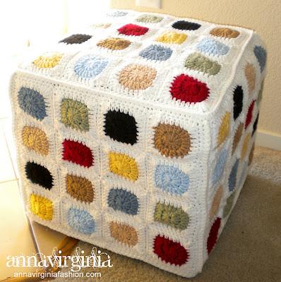 free crochet pattern granny square ottoman cover