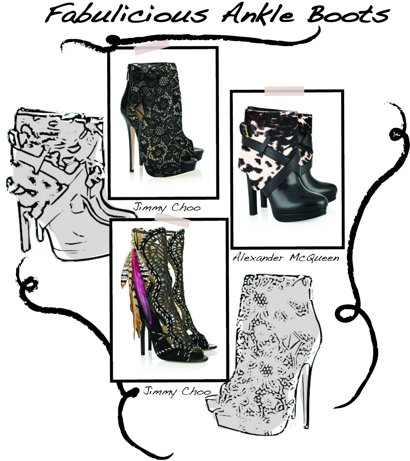 Sketches and layout by Fashion Vignette Shop at NetaPorter for these