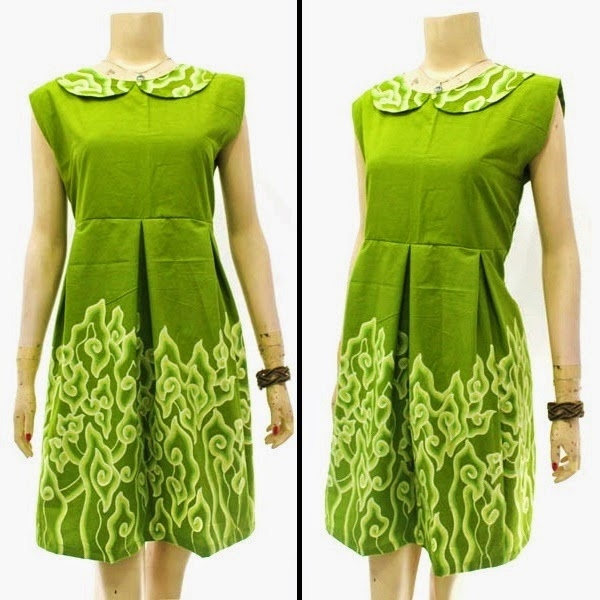 DB3823 Model Baju Dress Batik Modern Terbaru 2014