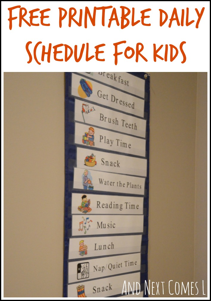 Free printable daily visual schedule for kids from And Next Comes L