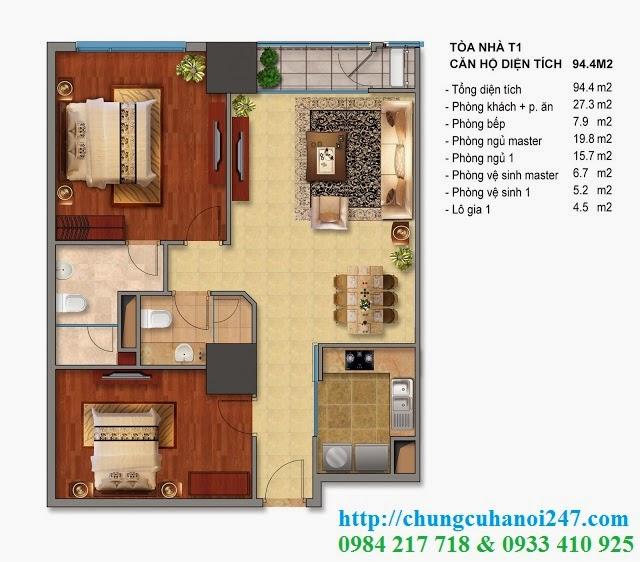Thiết kế chi tiết căn hộ toà T1 chung cư Times City diện tích 94.4 m2