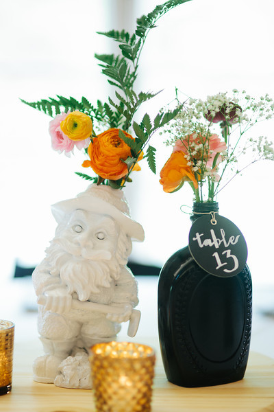 Tablet numbers and centre pieces with flowers