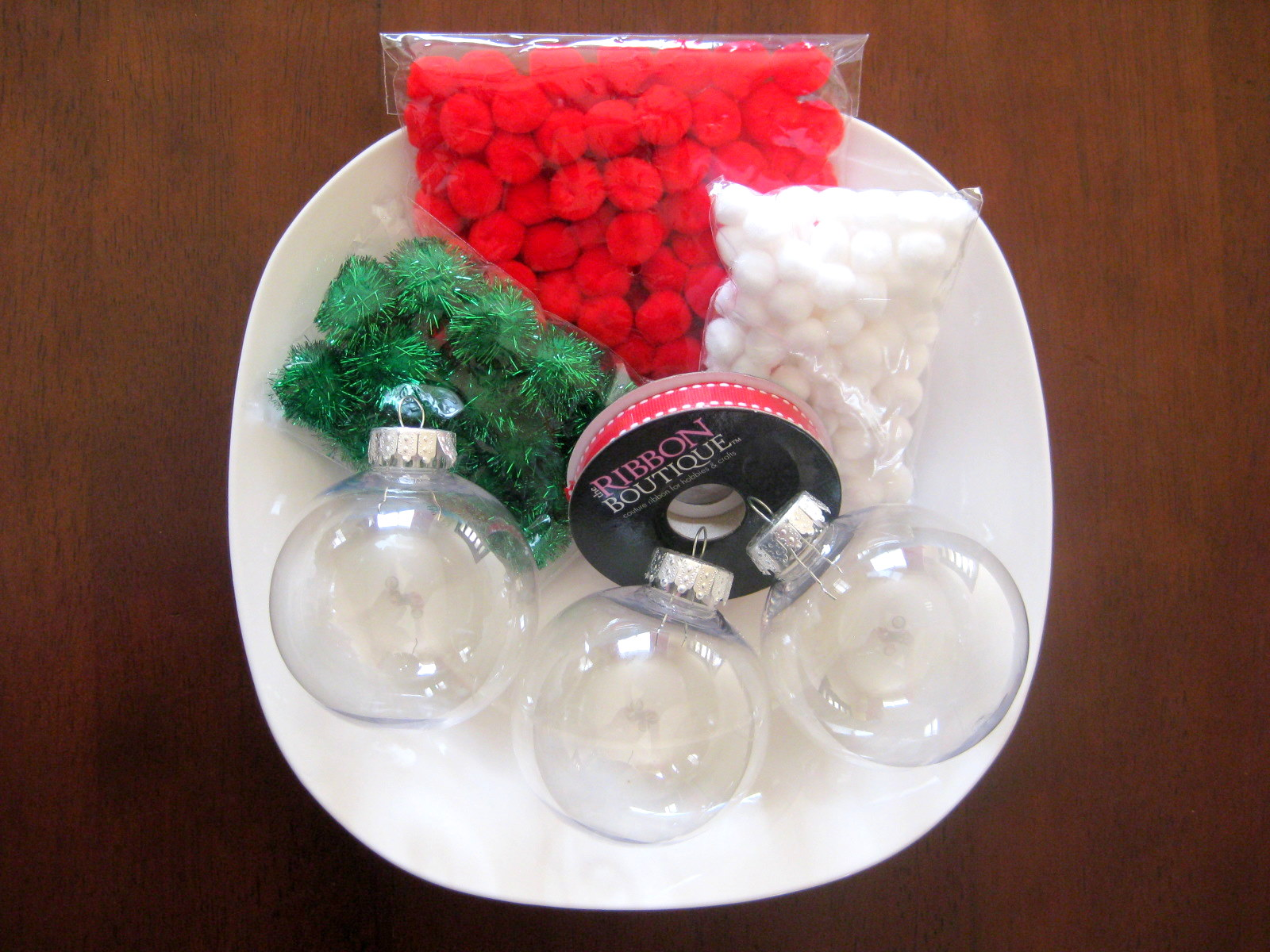 Clear plastic christmas ornament - Pop The Top Of Your Ornaments And Begin Adding Poms