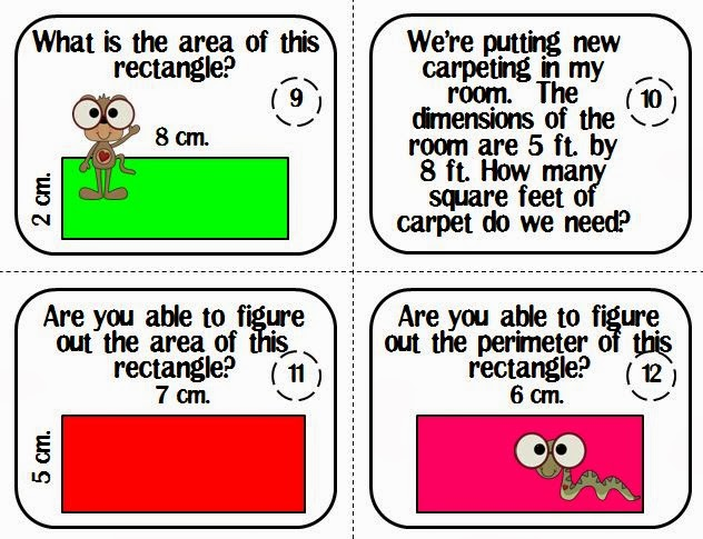 http://www.teacherspayteachers.com/Product/Area-and-Perimeter-of-a-Rectangle-Task-Cards-586696