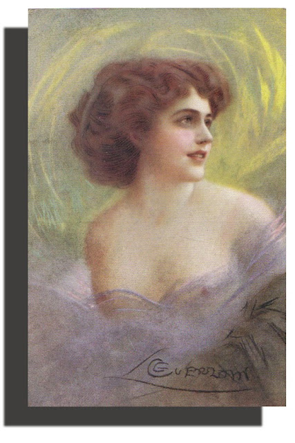 Beautiful Vintage Lithograph Woman ; Artist signed Guerzoni  - 1900