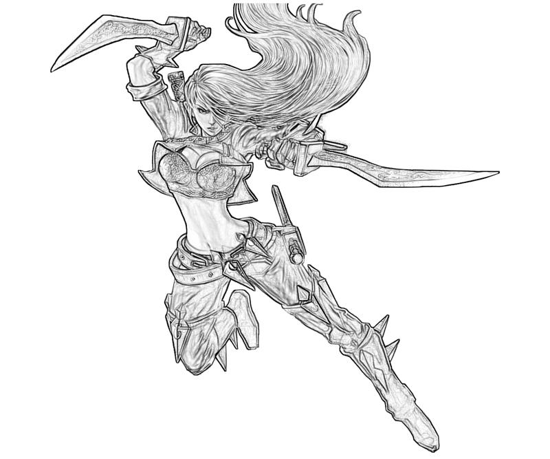 Printable League of Legends Katarina Funny Coloring Pages title=