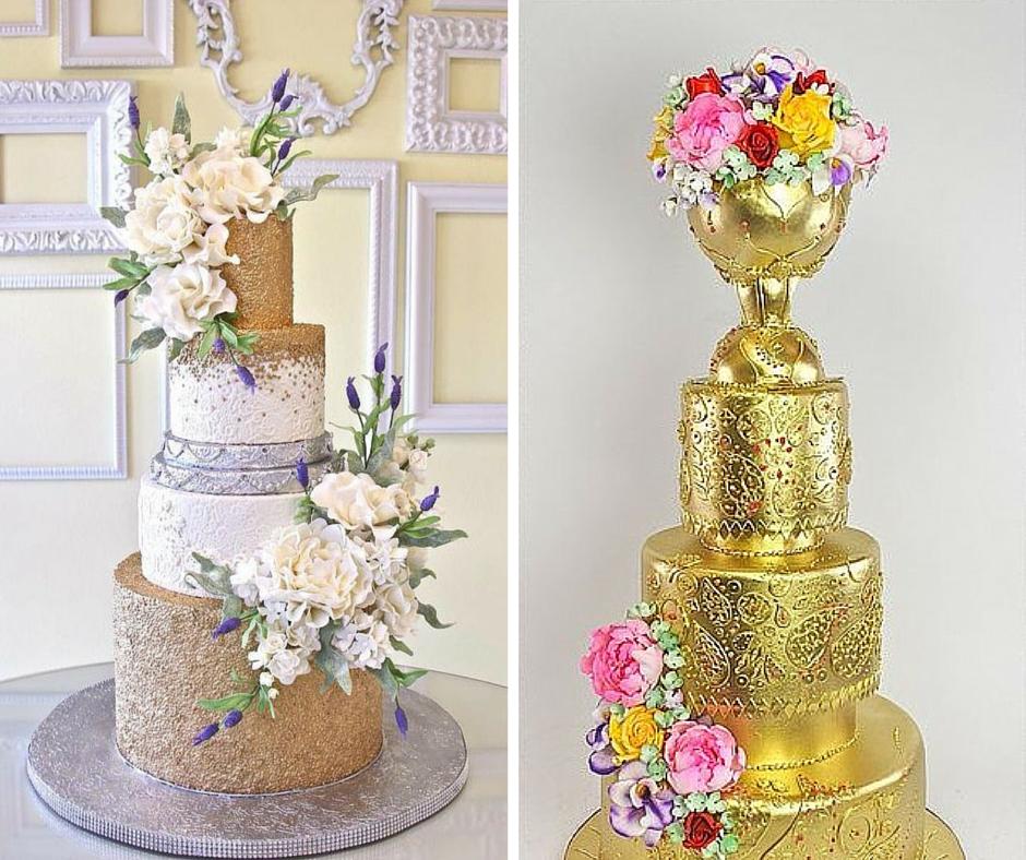 лъскави сватбени торти с флорални мотиви