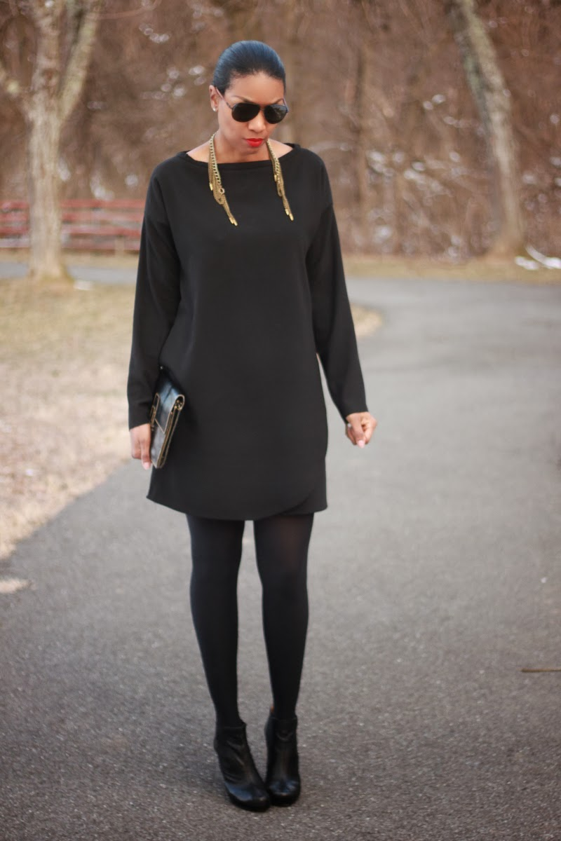 Black dress made with crepe fabric from MoodFabrics.com