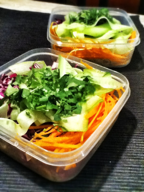 Salmon with Tri-Colour Salad and Soba Noodles, Lunchbox