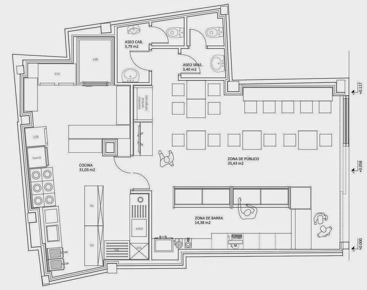 Arqit estudio blog concurso interiorismo para for Croquis de una cocina de restaurante