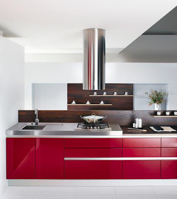 modern kitchen design in red -wood and stainless steel
