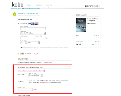 Where to enter the Kobo coupons